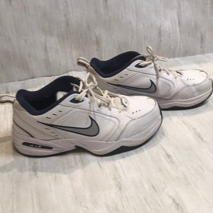 Nike Air Monarch. Size 12. Blue, silver and white.